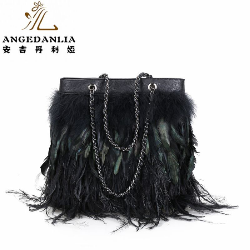 women shoulder Tassel bag lady hand bag with feather decoration Bohemian Boho Cotton Fabric Bag national ethnic bags<br>