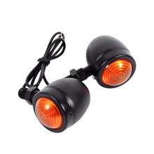 1 Pair Motorcycle Turn Signal Indicator Light Amber Motorbike Blinker Headlight 12v Indicator lamp Bullet Chrome black new(China)