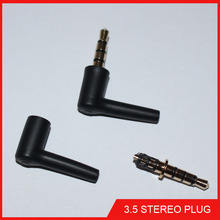 10pcs 3.5mm stereo headset plug jack 3 4 pole 3.5 Gold Plated 90 Degrees Black Audio Plugs Jack Adaptor Connector for iphone ect