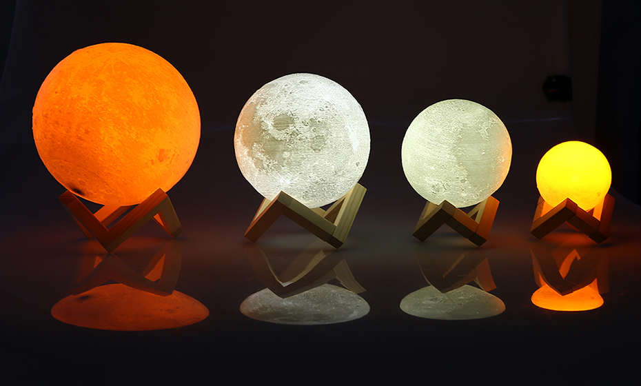 Rechargeable LED Night Light Moon Lamp 3D Print Moonlight Luna Bedroom Home Decor 2 Colors Touch Switch New Year Gift for Baby 8