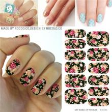 2016 Nail Art Hot sale Minx Red Rose flower Full Cover nail sticker Water Transfer Foils Flowers Design Nail Sticker tools