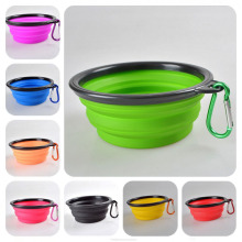 Hiking Camping Outdoor  Silicone Folding Dog Cat Pet Feed Food Feeder Travel Portable Bowl New Arrival Factory Sale