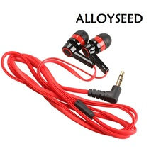 Red Flat 3.5mm Aux Earphone headphones In-Ear hedset earbuds for mobile phones computers mp3 mp4 earphones