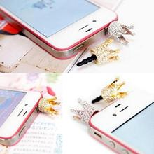 1 PCS New 3.5mm Crystal Crown Dust Earphone Jack Plug Dust Proof Cap For iPhone 4 4S 5 5S SE 5C Free Shipping&Wholesale Suppion