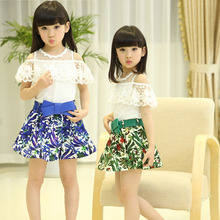 Clearance Sale 2016 Girls  Summer Vest Lace Floral T Shirt Dress Girls Clothes Green Skirts Children Clothing  Kids Clothes
