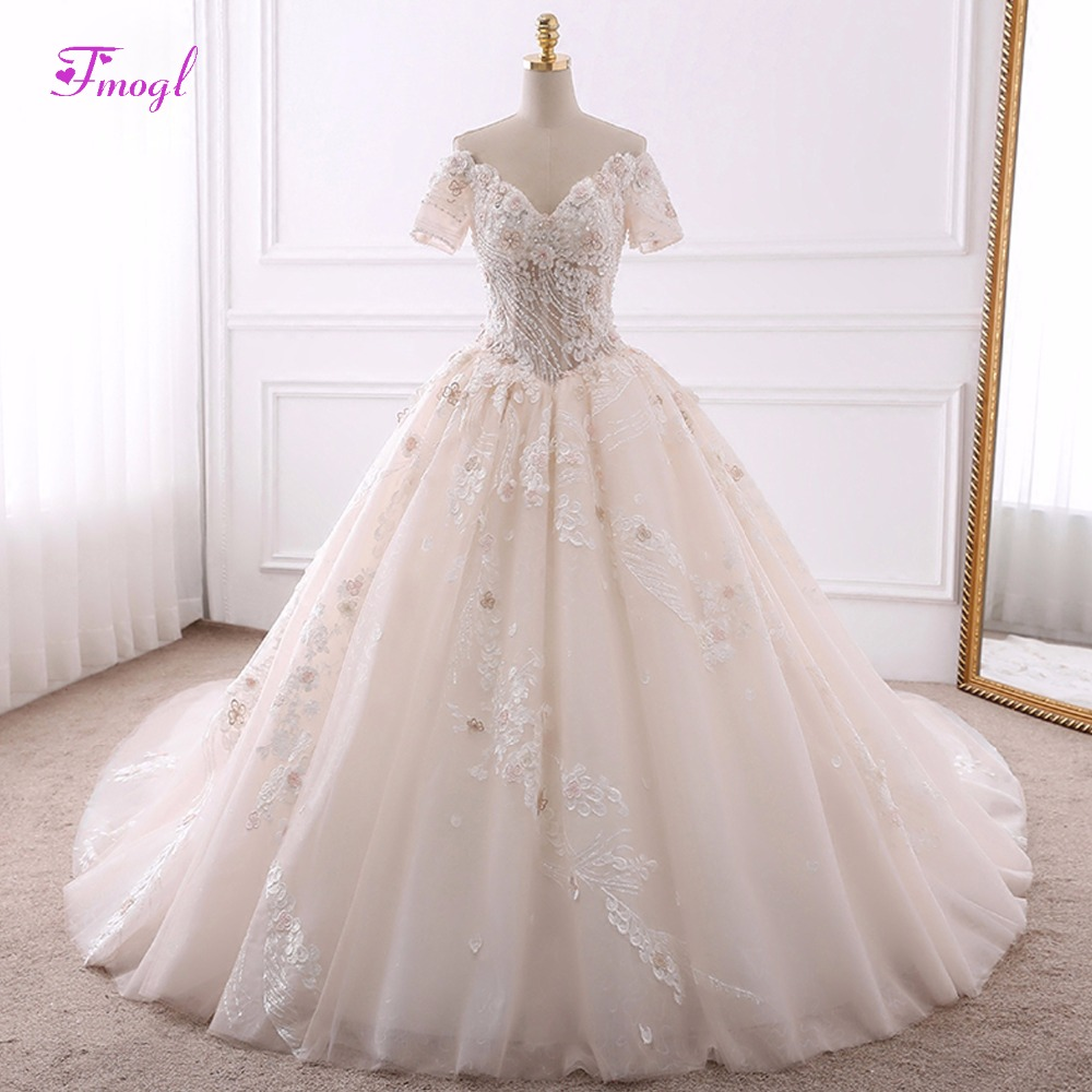 Fmogl Vestido de Noiva Appliques Chapel Train Ball Gown Wedding Dresses 2018 Luxury Pearls Beaded V-neck Princess Wedding Gown