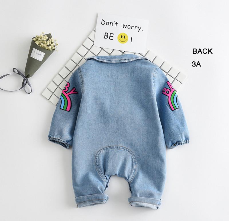 Croal Cherie Kawaii Rainbow Pringting Newborn Baby Clothes Denim Baby Girls Boys Romper Jumpsuit New Born Infant Rompers (3)