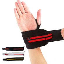 AOLIKES 1Pair Weight Lifting Sport Wristband Gym Wrist Brace Thumb Support Strap Wraps Bandage Fitness Training Safety HBK007(China)