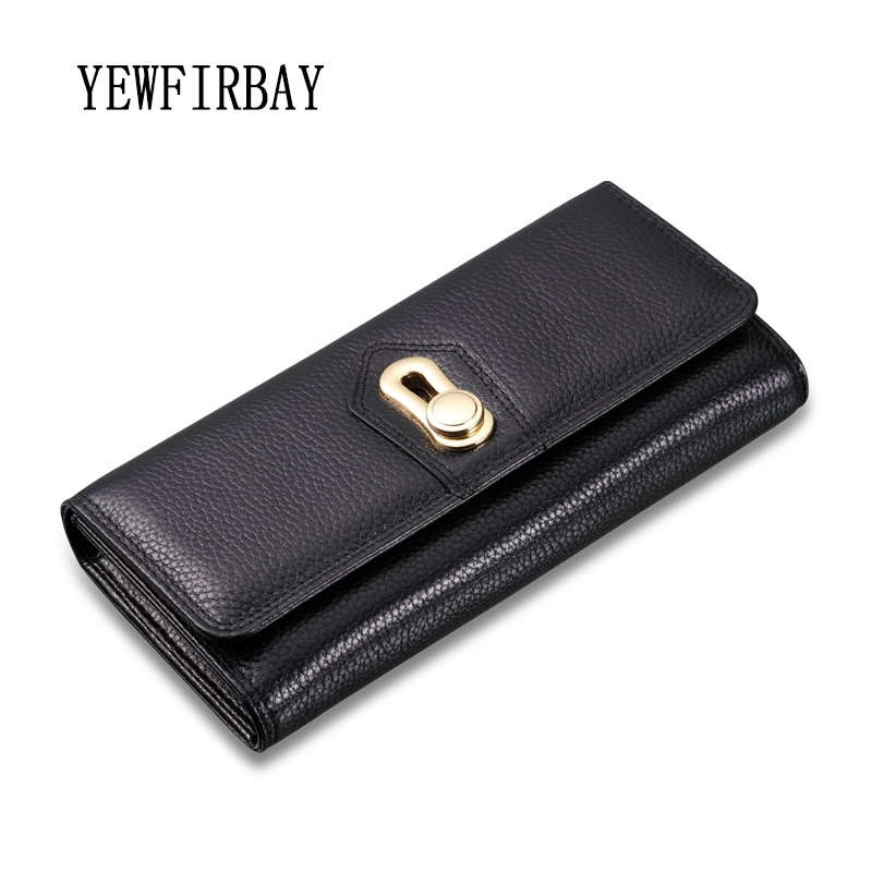 Women Wallets 2017 New fashion female cards holders genuine leather wallet  coin purses girl Long Wallet lady wallets black<br>