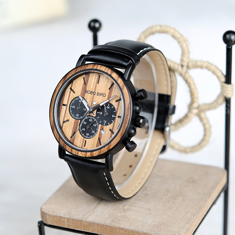 BOBO BIRD Watch Men Auto Date Genuine Leather Strap Sport Wristwatch for Male Accept Logo Customize relogio masculino B-P09-2<br>