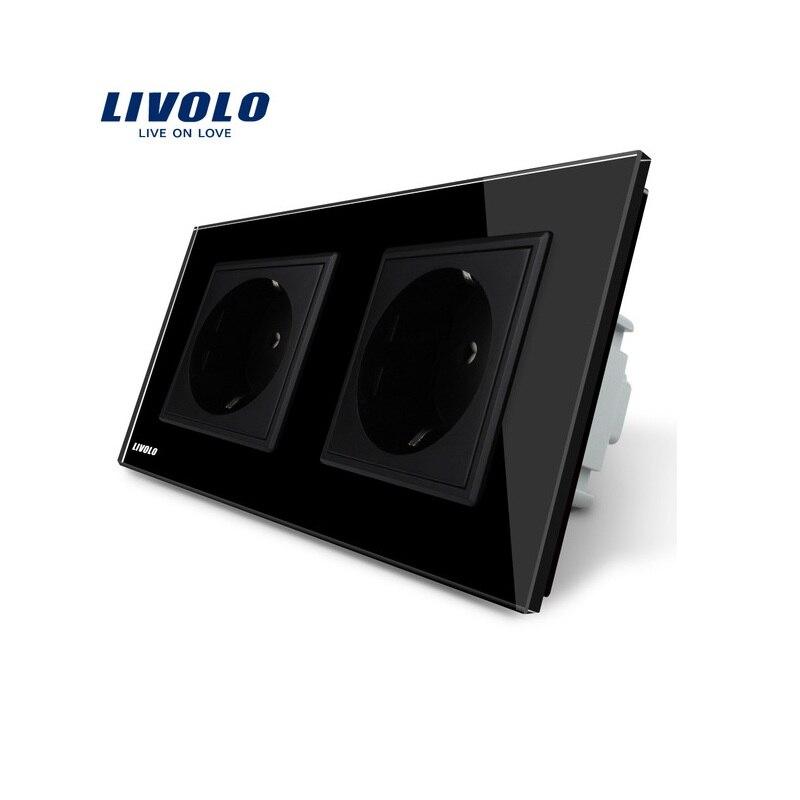 Manufacturer, Livolo EU Standard Wall Power Socket, Black Crystal Glass Panel, AC110~250V 16A Wall Outlet VL-C7C2EU-12<br>