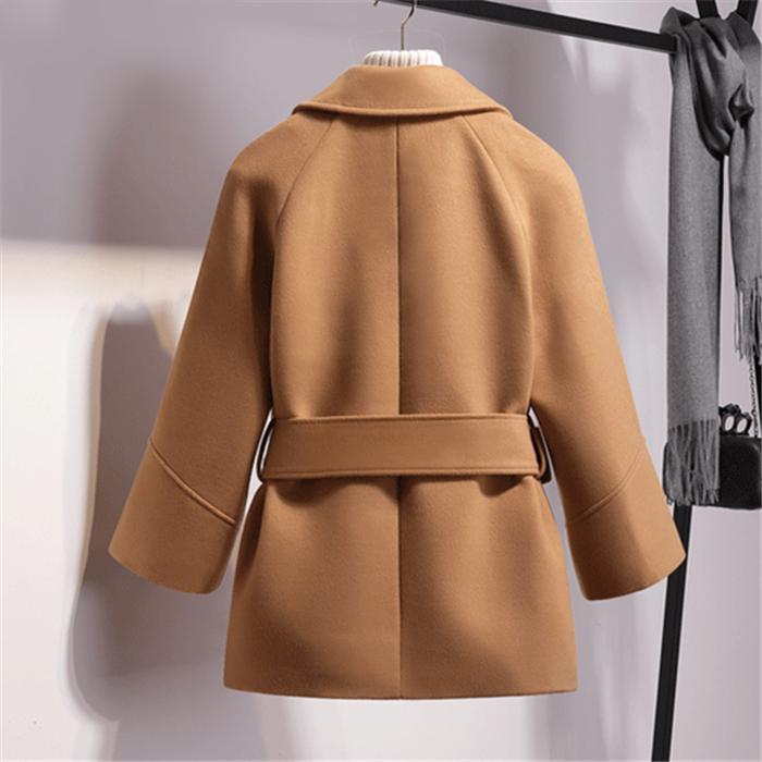 buy sale Women Short Woolen Coat Belt Jacket