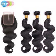 BY Hair Pre-Colored Body Wave With Closure Human Hair Weave Natural Color 3 Pcs Hair Bundles Middle Part Malaysian Non-remy Hair(China)