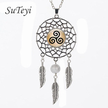 SUTEYI Swinging feathers Dream Catcher Pendant Triskelion Allison Necklace Teen Wolf Jewelry  Dreamcatcher Necklace  Present