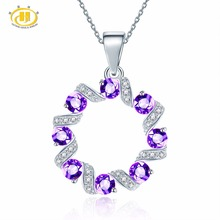 Hutang Natural Gemstone African Amethyst and Similar Diamond Solid 925 Sterling Silver Pendant Necklace For Women's Fine Jewelry(China)