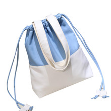 Women Fashion Hit Color luxury Canvas Drawstring Bags Shoulder Bag Casual Handbag women messenger bags tote crossbody purses