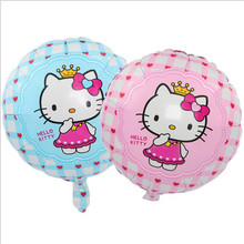 18 inch 10pcs Hello kitti cat Foil Balloons Baby Birthday Wedding Balloon Party supplier Decoration cute Cat(China)