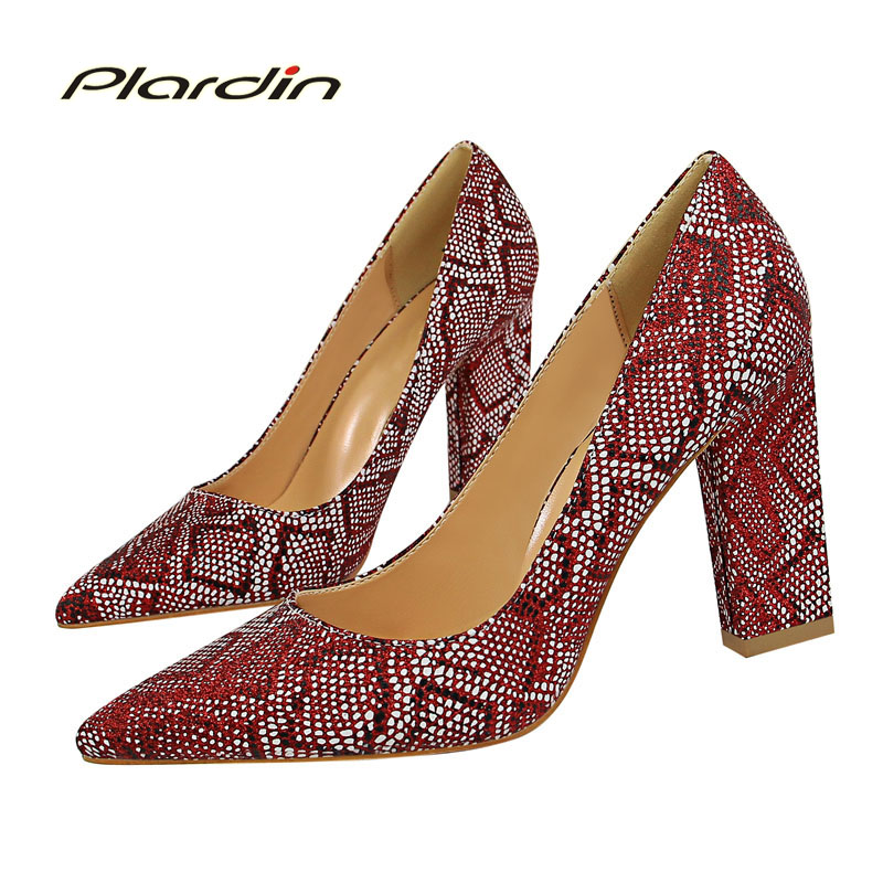 plardin New Four seasons British wind retro womens shoes with high heel asakuchi tip Snake pattern square heel shoes women Pumps<br>