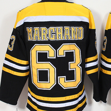 Mens #63 Brad Marchand Blue Gold White Black Home 100% Embroidery Hockey Jerseys High Quality free shipping(China)