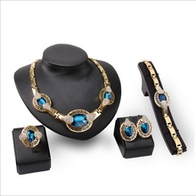 2017 new 4pcs/set African Large  Jewelry Set Italy fashion design Dubai Big necklace earrings ring