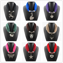 [RUNMEIFA]   Fashion Solid Color and Multicolor Polyester scarf With jewellery pendant Women Pendant Scarf Necklace