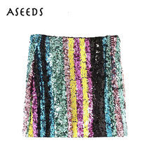 Buy 2018 korean fashion Sequins mini Skirt women Sexy Side Zipper High Waist skirt Streetwear bodycon Pencil skirts faldas mujer for $12.69 in AliExpress store