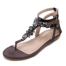 2017 Summer Style Women Shoes Snake Skin Straps Black Gem Decorative Flat Sandals Roman Thong Sandals Shoes Woman(China)