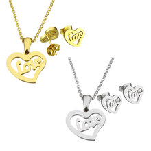 YYW Wedding Gold-color Stainless Steel Jewelry Sets Letter Word Love Heart Stud Earring Oval Chain Choker Pendant Necklaces