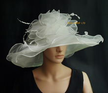 X Large wide brim Organza Hat Hair Accessory sinamay fascinator for Church wedding,brim width 15.5cm.ivory cream color.(China)