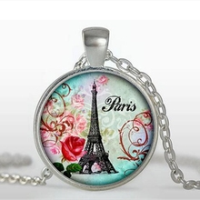 Buy Eiffel Tower glass pendant necklaces charms paris glass dome silver chain pendant necklace women jewelry 2017 A-103 HZ1 for $1.13 in AliExpress store