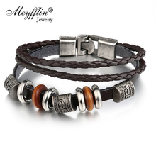 Buy Meyfflin Cuff Leather Bracelets WristBand Vintage Punk Rock Fashion Geometric Alloy Beads Charm Bracelet Men Women Jewelry for $1.99 in AliExpress store