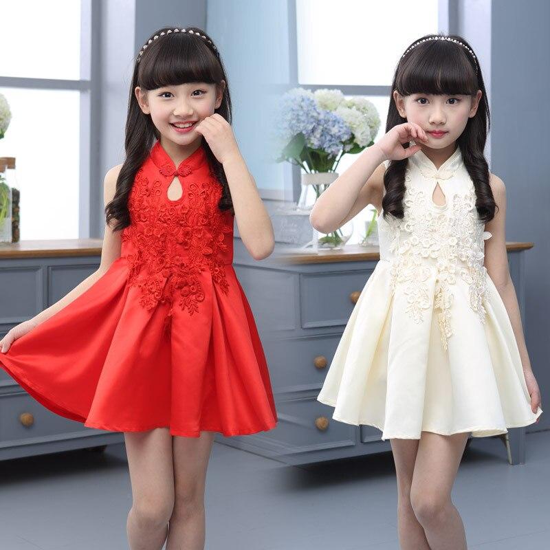 2016 New Spring Summer Hot Lovely Big Virgin Solid Color Lace Floral Girls Clothes Children Dress Cheongsam Princess Dresses<br><br>Aliexpress
