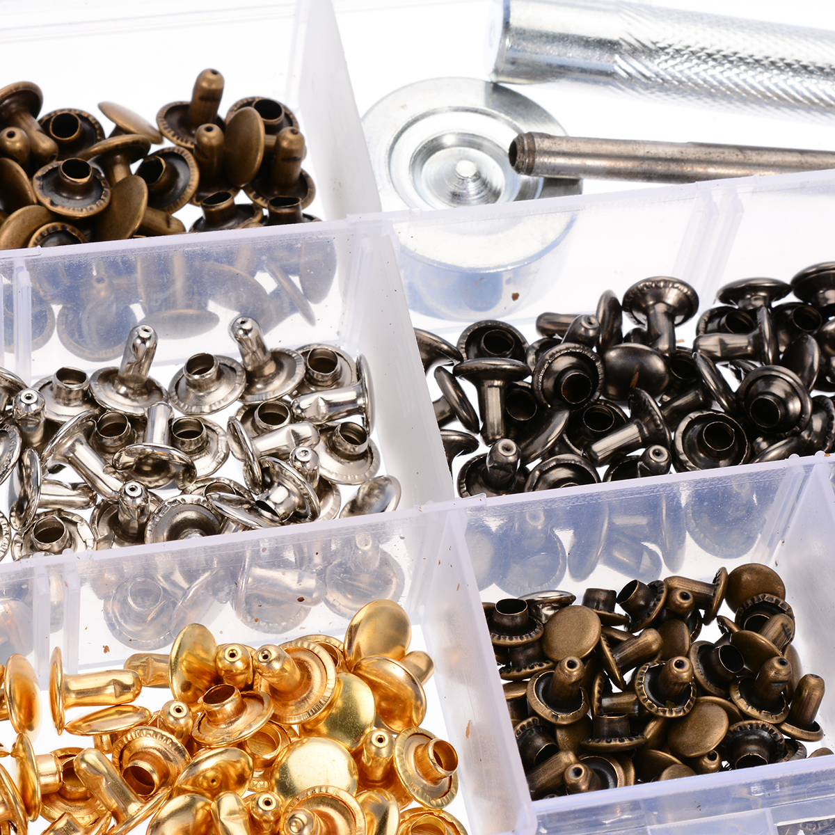 240 Sets Leather Craft Double Cap Repairing Rivets Tubular Snaps Fastener Button Press Metal Studs Fixing Tools Kit