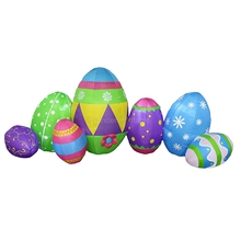 Party supplies 7eggs/pack 4mLong airblown colorful giant inflatable easter eggs for yard decoration