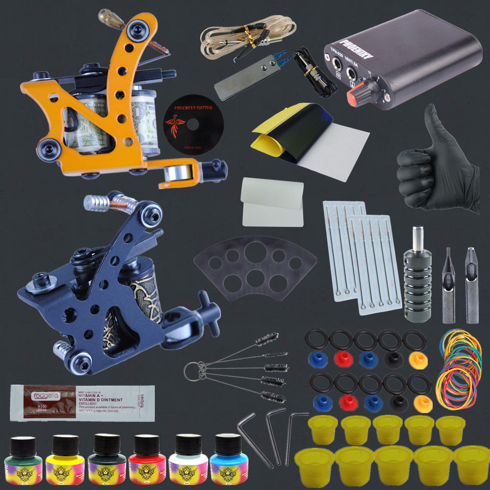 Tattoo Kits for Body Art Two 9 Wrap Coils Tattoo Machine Guns Equipment Power Supply with 9 Color Tattoo Inks Grip Needles<br>