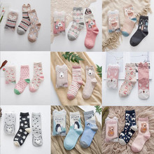 2pairs/lot New brand winter Autumn Women Cotton cartoon pattern Socks Female girl Cute warm funny Socks christmas gifts meias