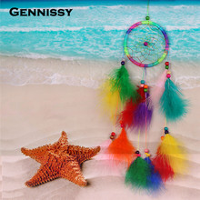 GENNISSY New Fashion Originality Gig Hot White Dreamcatcher Wind Chimes Indian Style Pearl Feather Pendant Dream Catcher Gift(China)