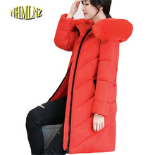 Plus size Winter Jacket New Style Women Down Cotton Overcoat Thick Warm Coat Elegant Slim Hooded Fur collar Jacket Female OK280(China)