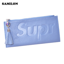 Women Wallets Bling GENUINE LEATHER THIN Card Holders Slim Wallets Pocket PURSES ZIPPER POCKET Leather Purses Phone Handbag Bags(China)