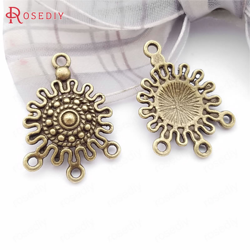 20PCS 20x17MM Zinc Alloy Round Earrings Connector Charms Diy Jewelry Accessories
