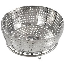 PHFU Kitchen Folding Stainless Steel Mesh Holes Steam Basket Cooker