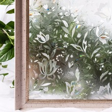 CottonColors Bedroom Bathroom PVC Window Privacy Films No-Glue 3D Static Flower Decoration Window Glass Sticker Size 45 x 100cm