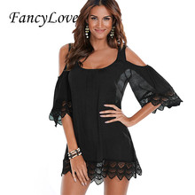 Fancylove Women Sexy Cold Shoulder Mini Dress White/Black/Blue/Red Lace Beach Dress Summer Hollow Out Club Wear Clothes YC42128