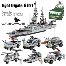 Lagopus Military Building Blocks Light Frigates Helicopters Armored Vehicles Six In One Educational Toys Assembled Blocks