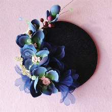 2016 New Royal Ladies Linen Top Hat Hair Clip Fascinator Bride Yarn Flowers Navy Wedding Hat Dinner Party Hair Jewelry Headpiece