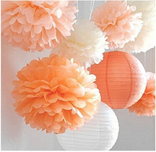 8 Pcs Mixed Peach Ivory Orange Tissue Paper Pom Poms Pompoms and Paper Lantern Wedding Birthday Party Baby Girl Room Decoration(China)