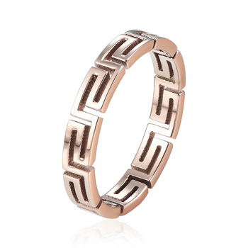 New Arrival 3.4mm Wide Exquisite Rose Gold Hollow Pattern Ring Titanium Steel Luxury Woman Birthday Gifts Jewelry Wedding Ring