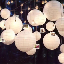 "wholesale 100pcs/lot 8""10""12""16""White Round Chinese Paper Lantern Wedding Party Supplies Home Decor Wedding Favors Holiday(China)"