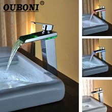 OUBONI NEW Bathroom Basin Faucet Chrome Brass Mixer Tap LED Waterfall Spout Soild Brass Polish Water Basin Mixer Tap(China)