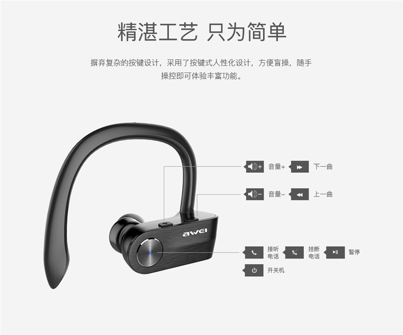 Original Awei T2 TWS Sports Ear Hook Bluetooth Earphones Wireless Waterproof Mini Separate Dual Earbuds Stereo Earphones Newest